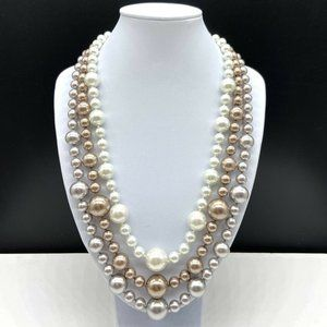 Chico's Faux Pearl Glass Beaded Necklace
